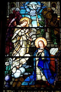 Annunciation as depicted in stained glass window