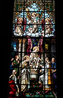 St. Cecilia: Patroness of Musicians as depicted in a Chapel window